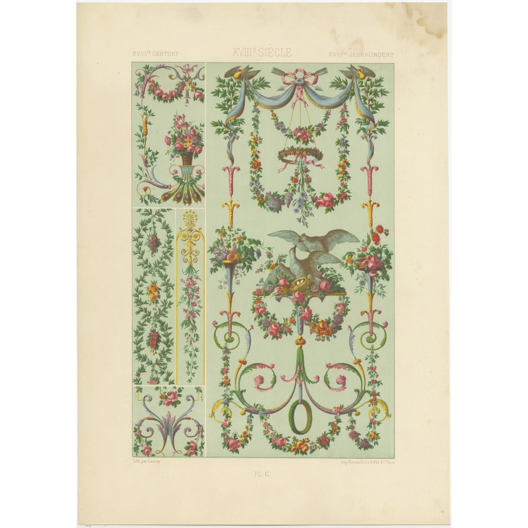 Pl. 100 Antique Print of decorative painting in France by Didot (1891)