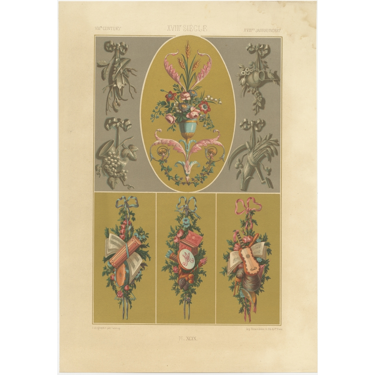 Pl. 99 Antique Print of decorative painting in France by Didot (1891)