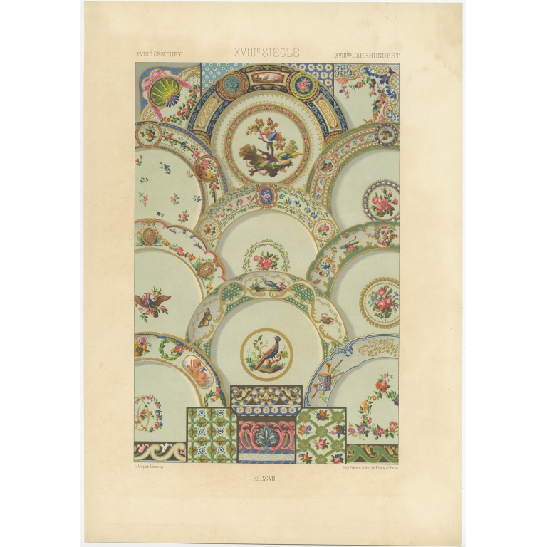 Pl. 98 Antique Print of decorative painting in France by Didot (1891)
