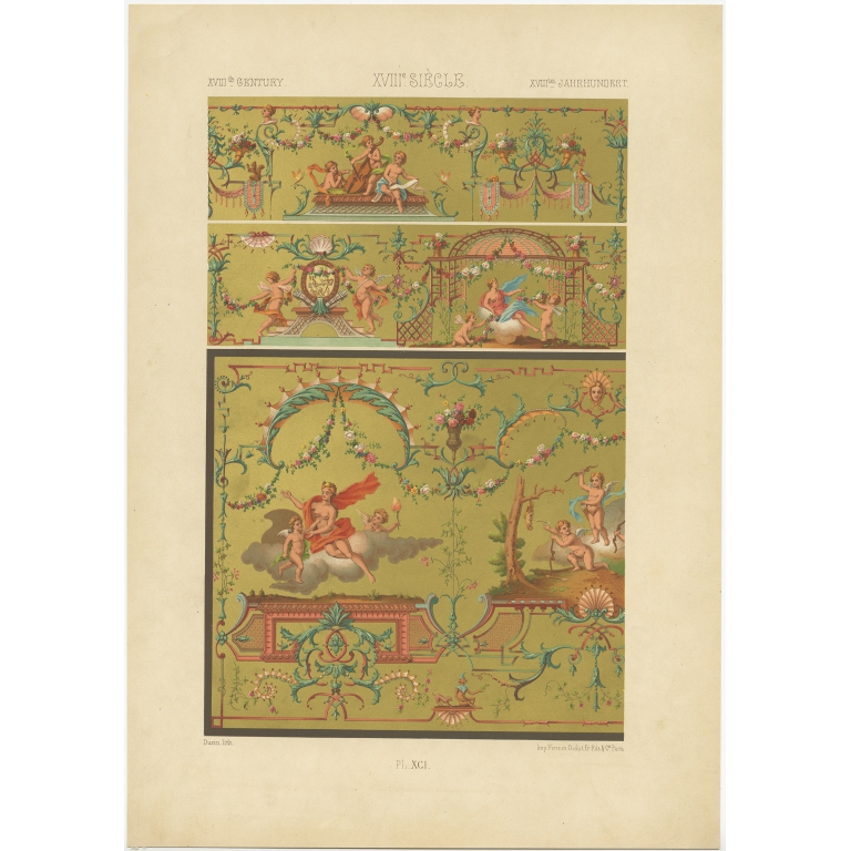 Pl. 91 Antique Print of decorative painting in France by Didot (1891)