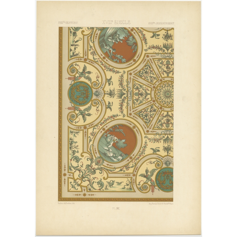 Pl. 90 Antique Print of decorative painting in France by Didot (1891)