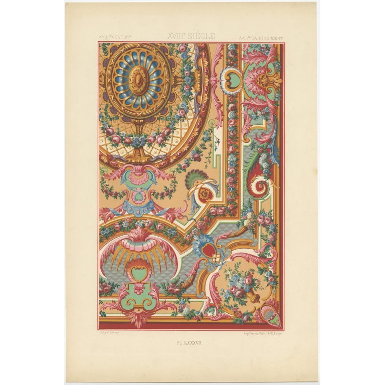 Pl. 87 Antique Print of decorative painting in France by Didot (1891)
