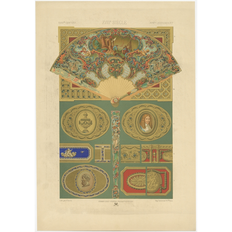 Pl. 88 Antique Print of decorative painting in France by Didot (1891)