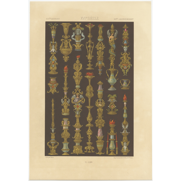 Pl. 64 Antique Print of decorative painting in France by Rachinet (1869)