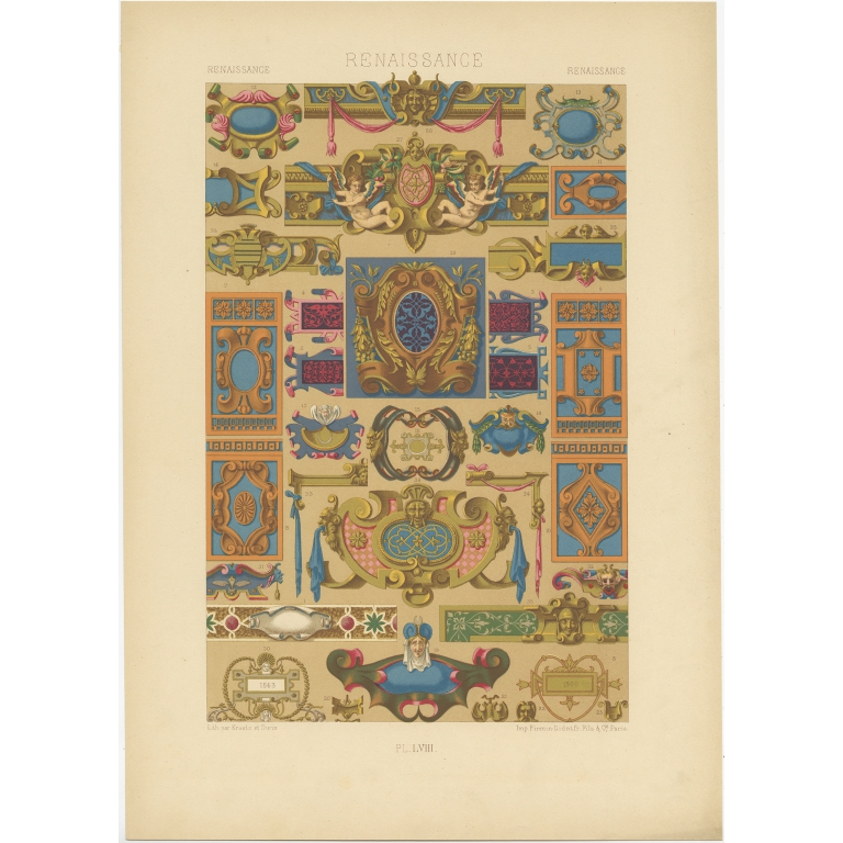 Pl. 58 Antique Print of decorative painting in France by Rachinet (1869)