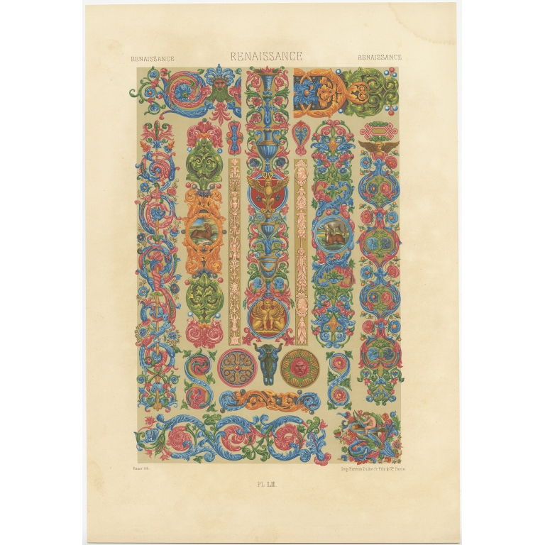 Pl. 52 Antique Print of decorative painting in France by Rachinet (1869)