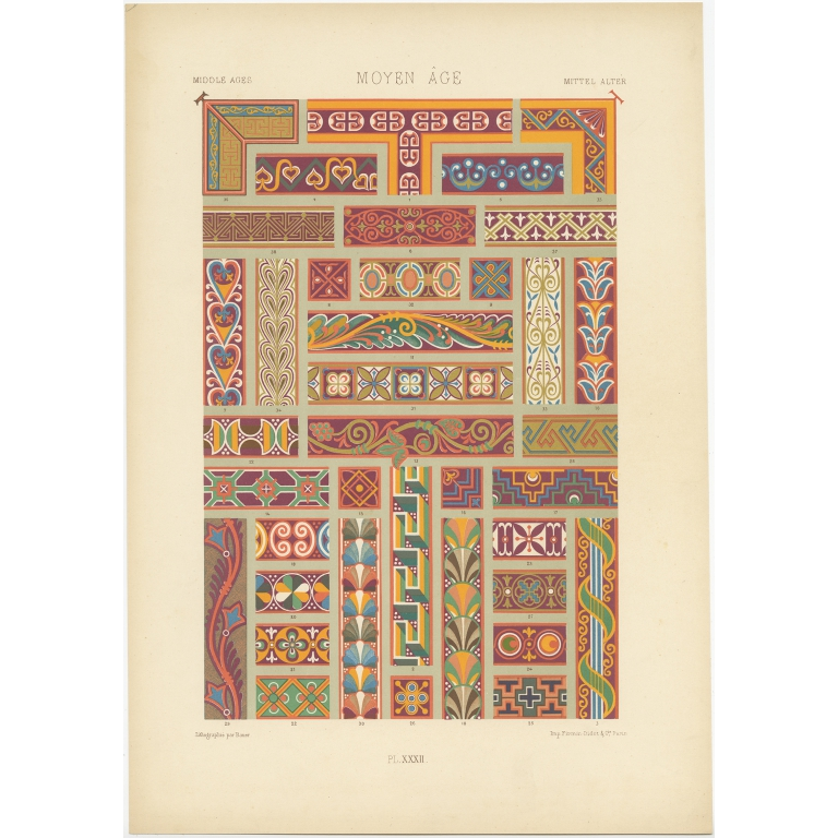 Pl. 32 Antique Print of decorative art in the Middle Ages by Rachinet (1869)