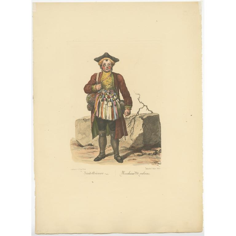 Antique Print of a Ribbon Merchant by Brand (1775)