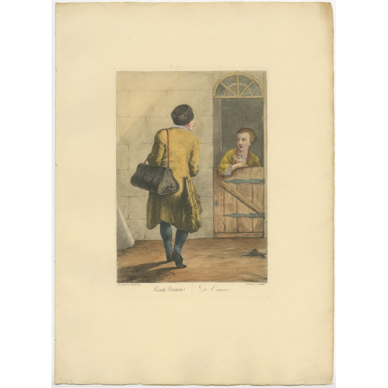 Antique Print of an Ink Seller by Brand (1775)