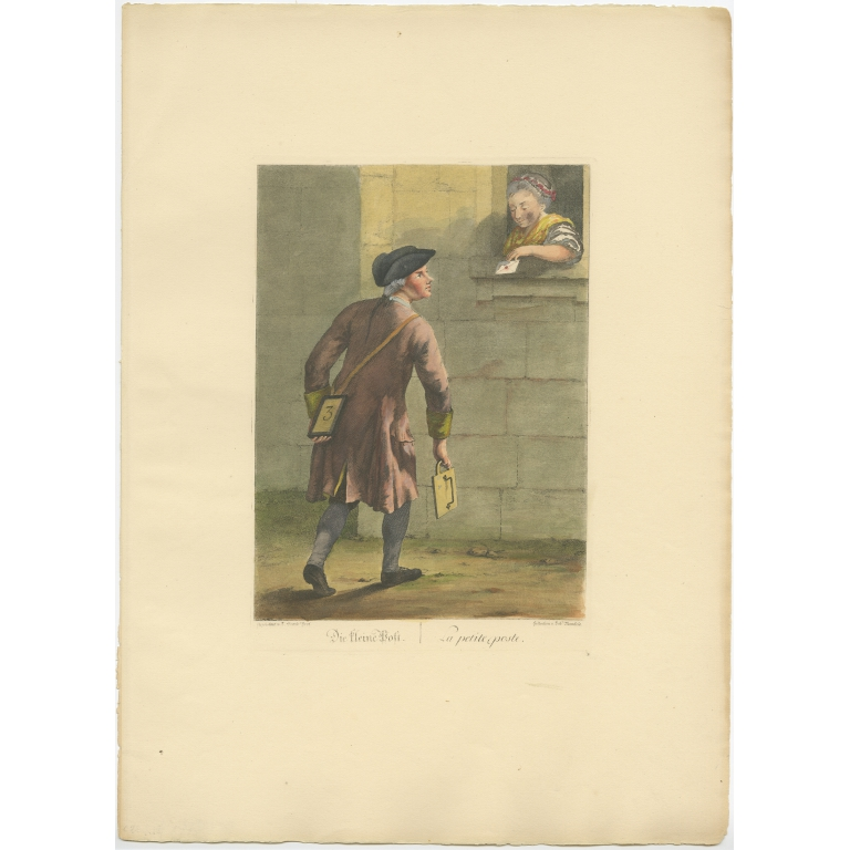 Antique Print of a Courrier by Brand (1775)