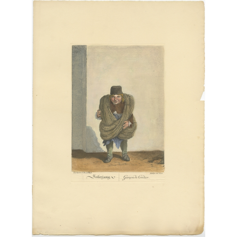 Antique Print of a Rope Boy by Brand (1775)
