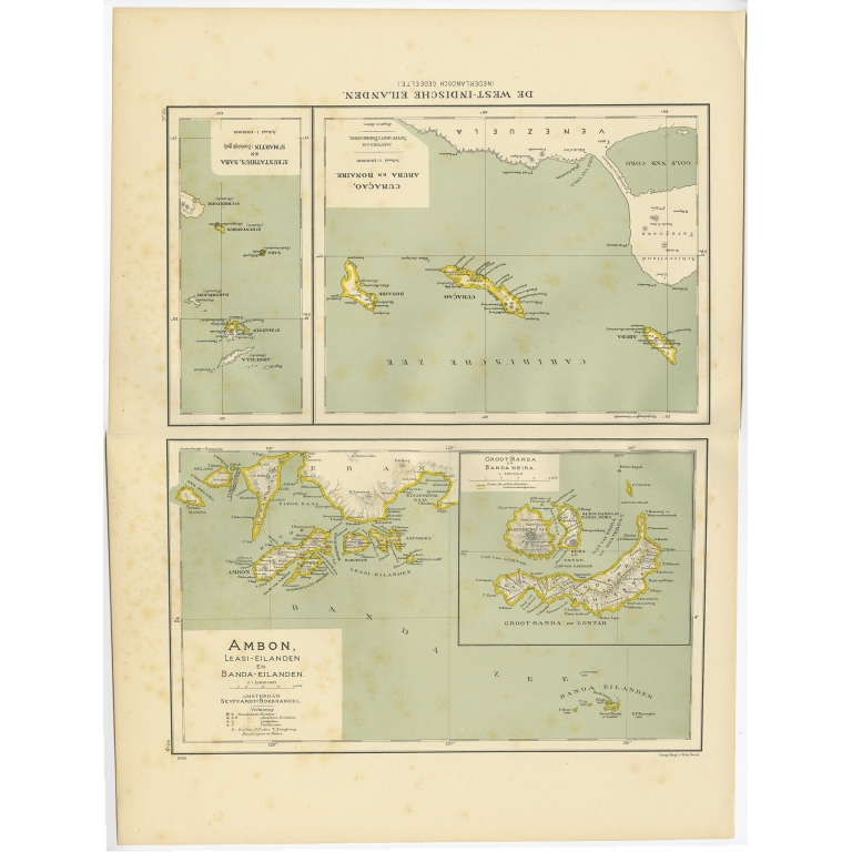 Antique Map of the West Indies and Ambon by Dornseiffen (1900)