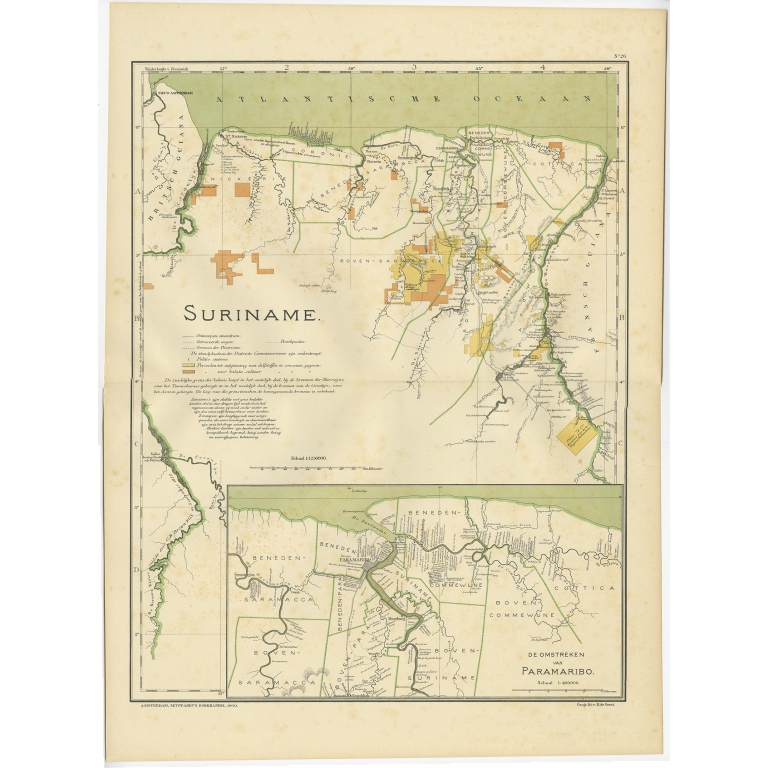 Antique Map of Suriname by Dornseiffen (1900)