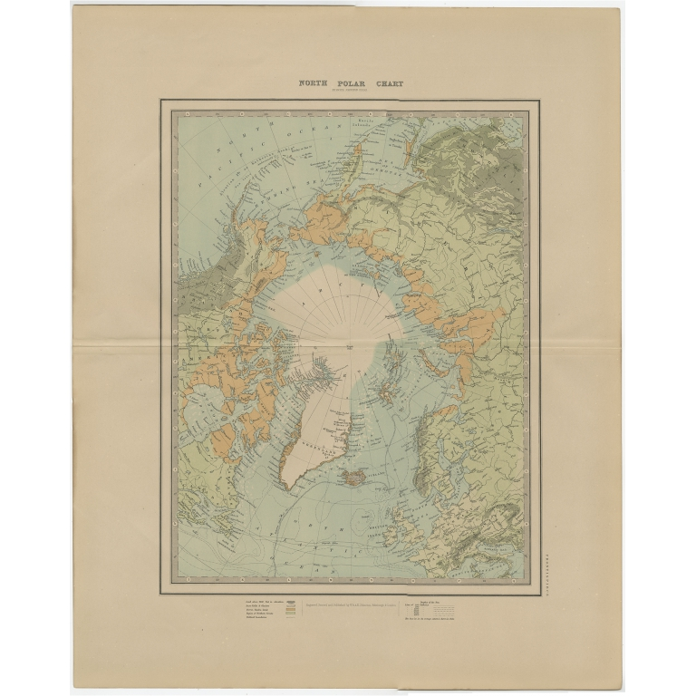 Antique Map of the North Pole by Johnston (1882)
