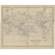 Antique World Map on Mercators Projection by by Johnston (1882)