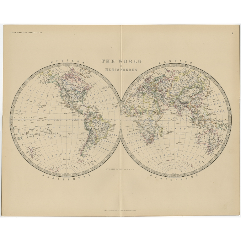 Antique World Map by Johnston (1882)