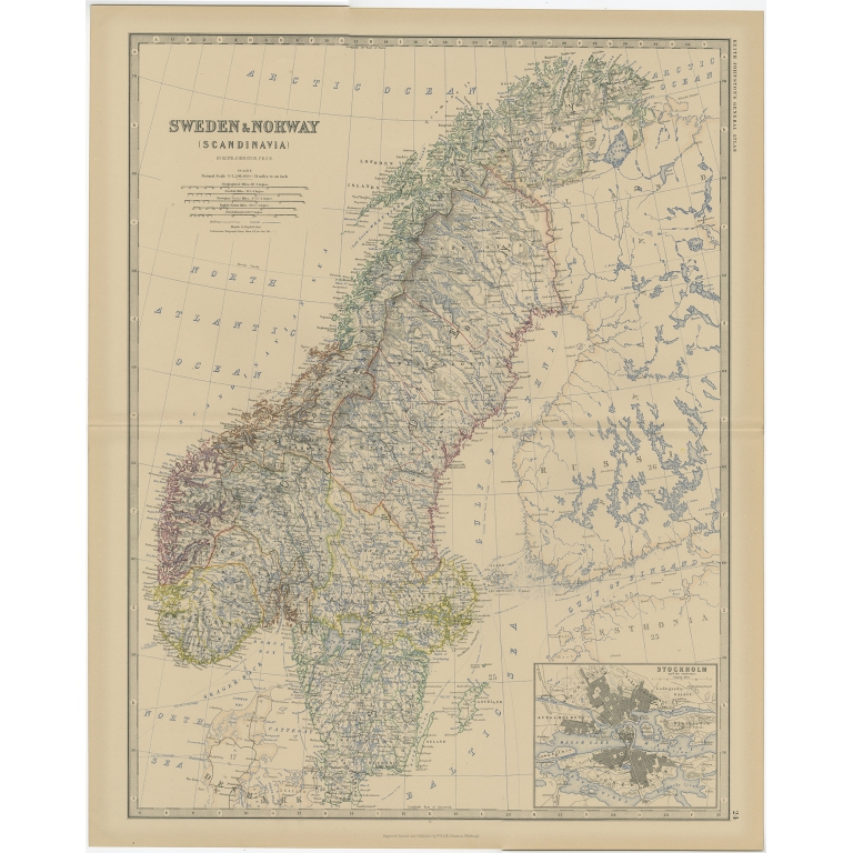 Antique Map of Sweden and Norway by Johnston (1882)