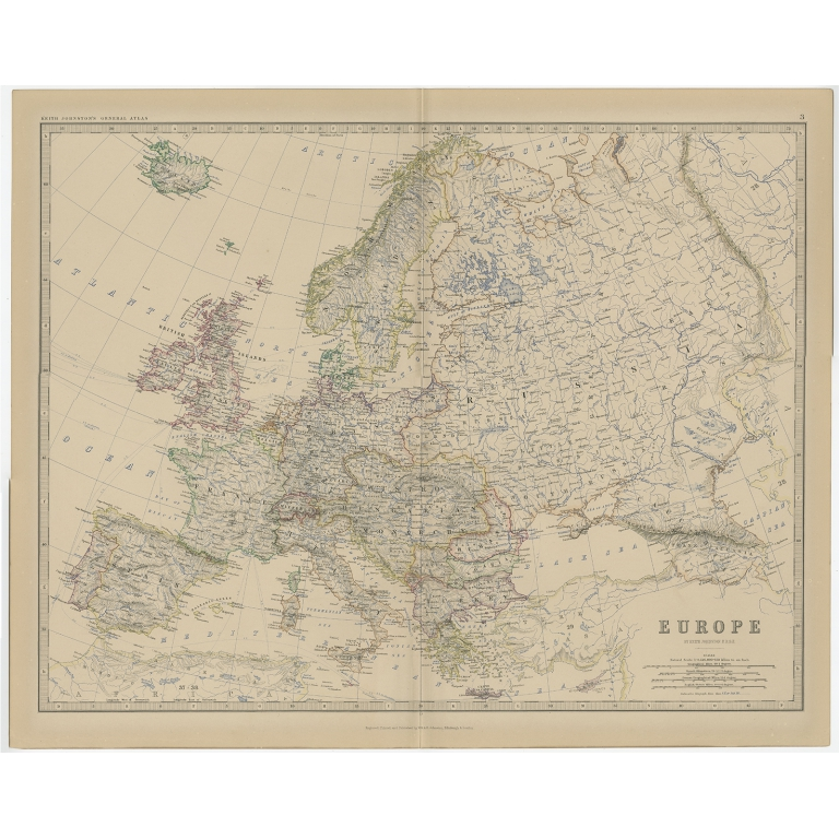 Antique Map of Europe by Johnston (1882)