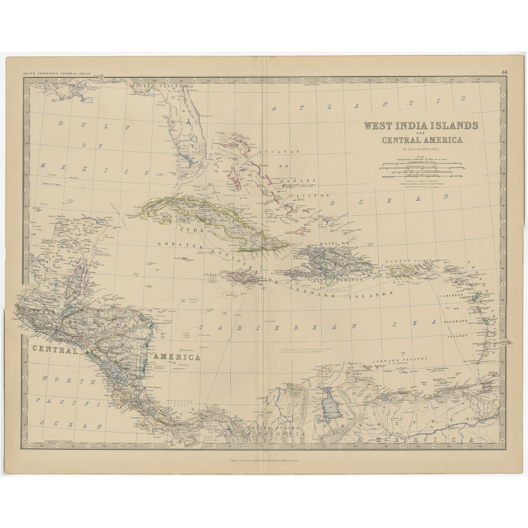 Antique Map of Central America by Johnston (1882)