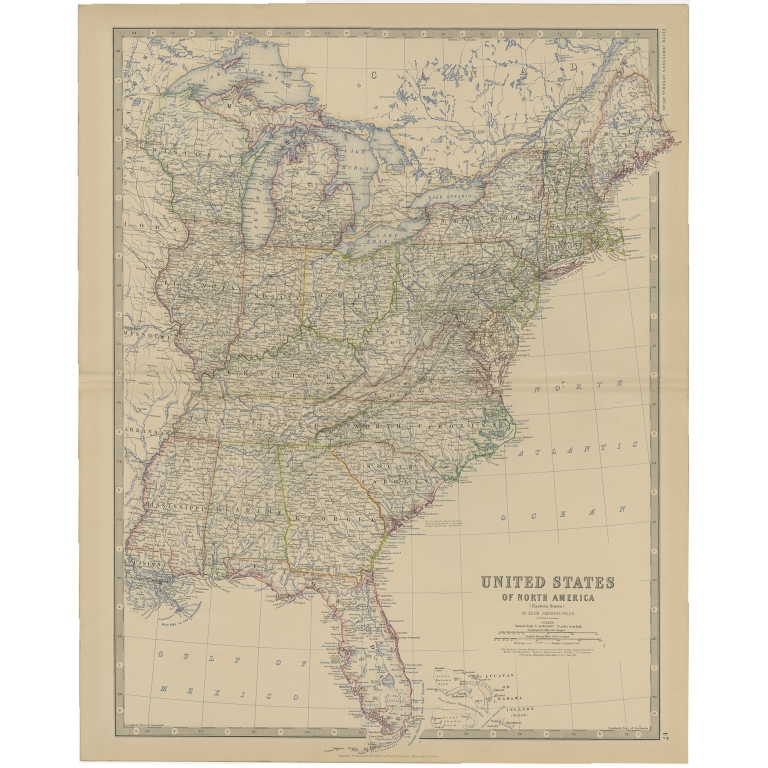 Antique Map of the United States of North America by Johnston (1882)