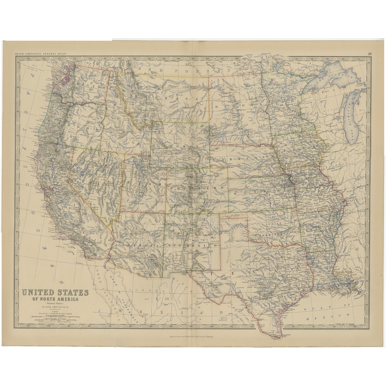 Antique Map of the United States of North America (West) by Johnston (1882)