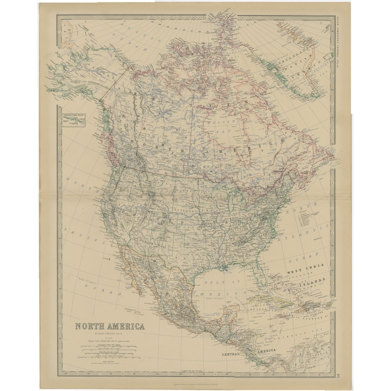 Antique Map of North America by Johnston (1882)