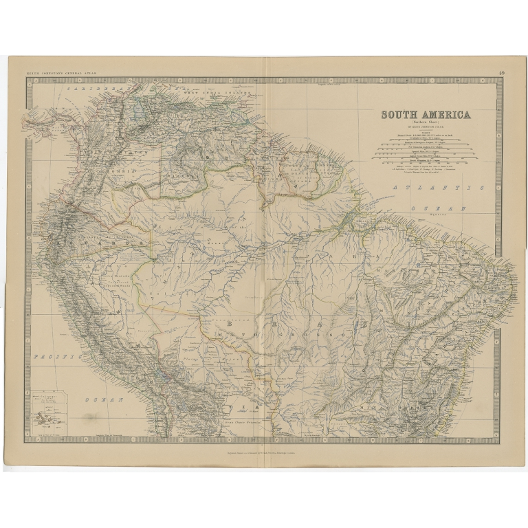 Antique Map of South America by Johnston (1882)