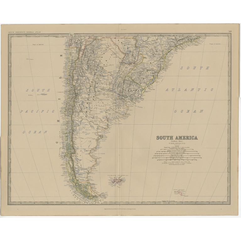 Antique Map of South America (southern part) by Johnston (1882)