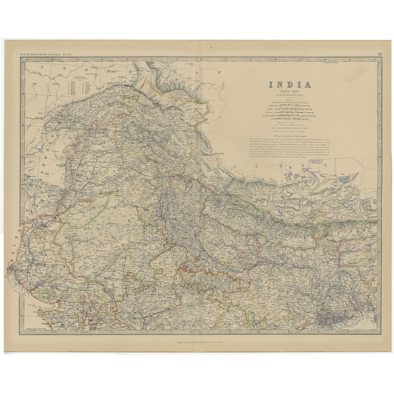 Antique Map of Northern India by Johnston (1882)