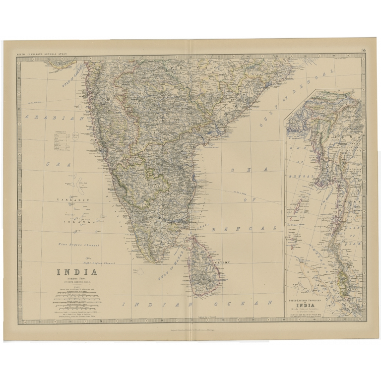 Antique Map of Southern India by Johnston (1882)