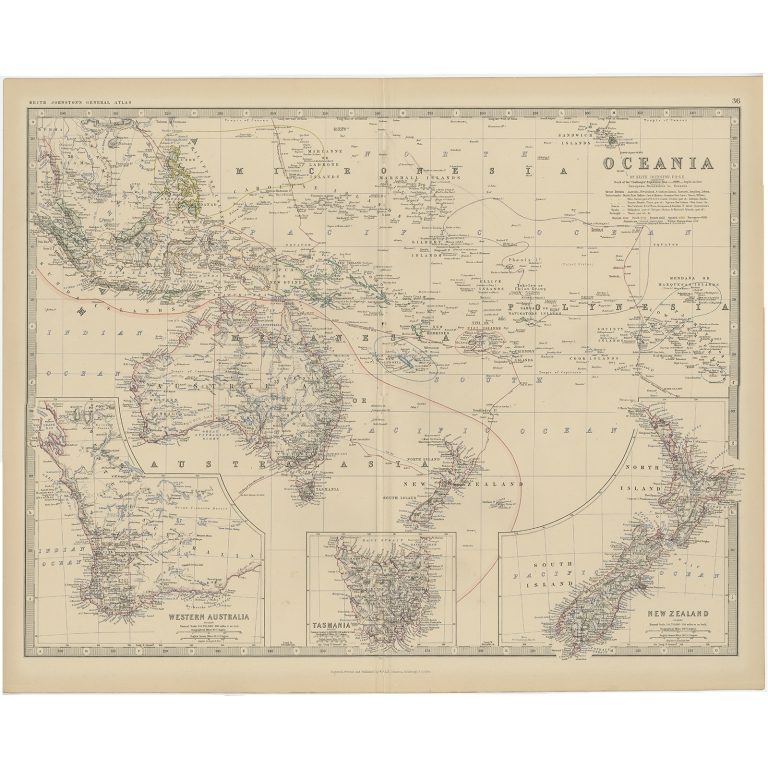 Antique Map of Oceania by Johnston (1882)