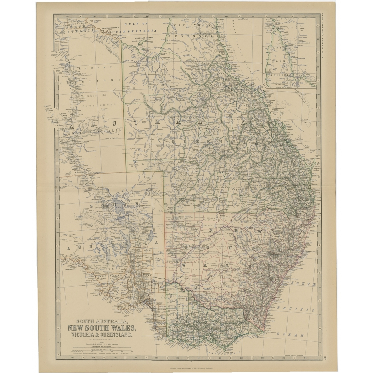 Antique Map of South Australia by Johnston (1882)