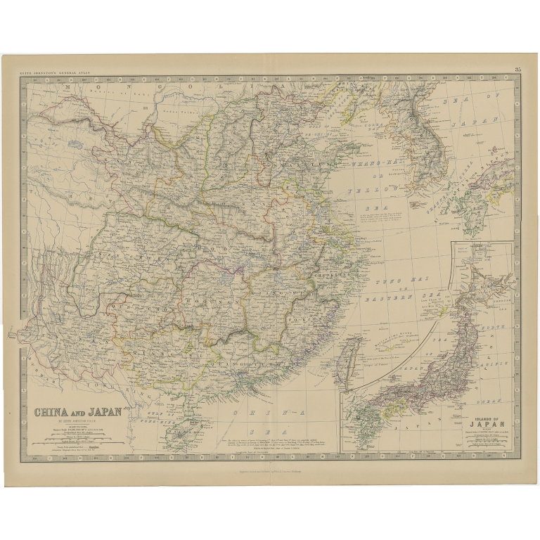 Antique Map of China and Japan by Johnston (1882)