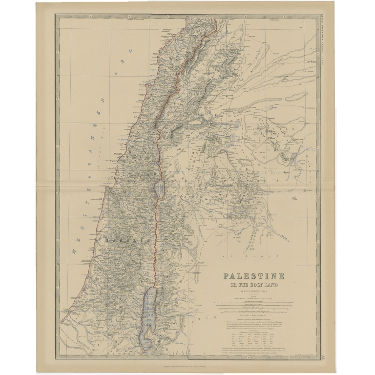 Antique Map of Palestine by Johnston (1882)