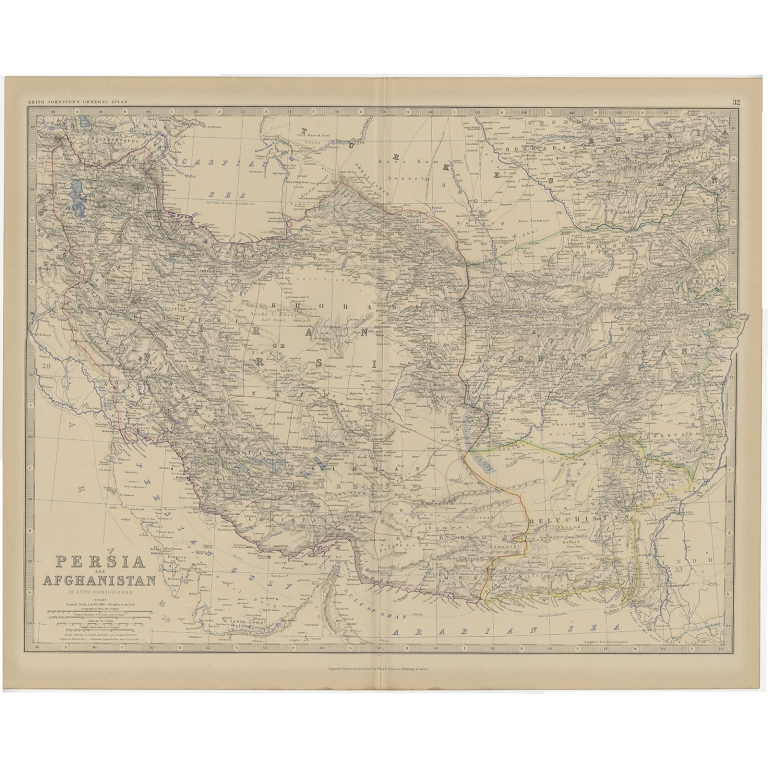 Antique Map of Persia and Afghanistan by Johnston (1882)