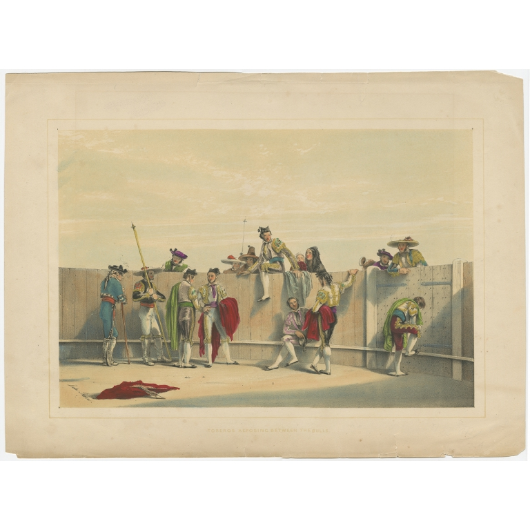 Antique Print of a group of Bullfighters made after Lake (c.1852)