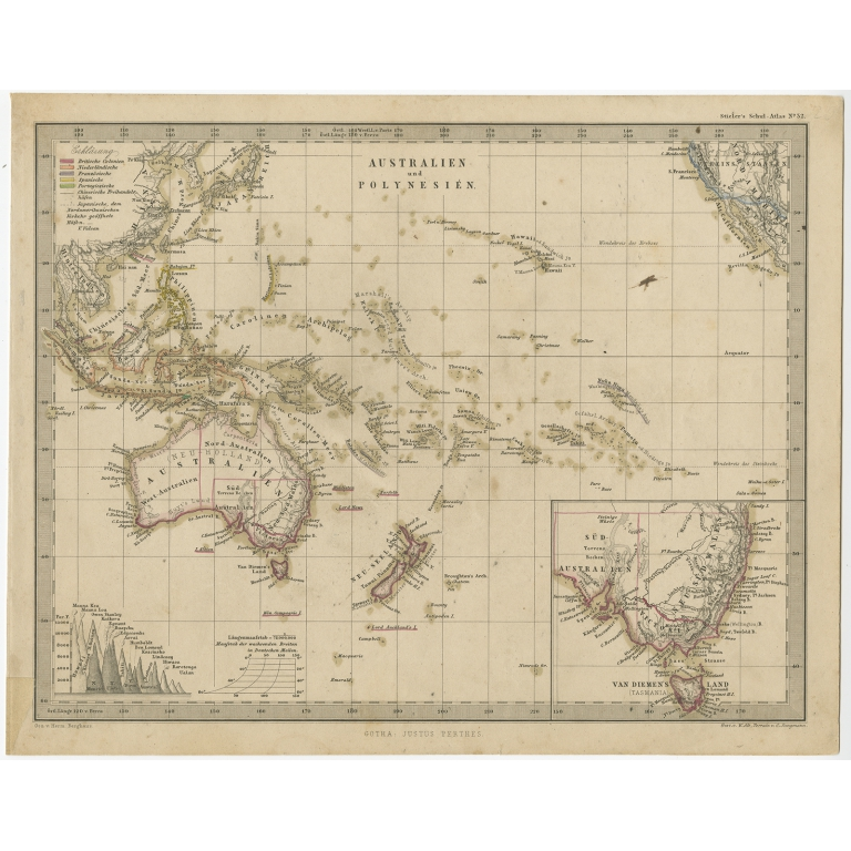 Antique Map of Australia and Polynesia by Stieler (c.1860)