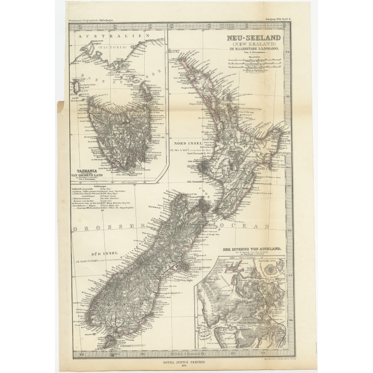 Antique Map of New Zealand by Petermann (1876)