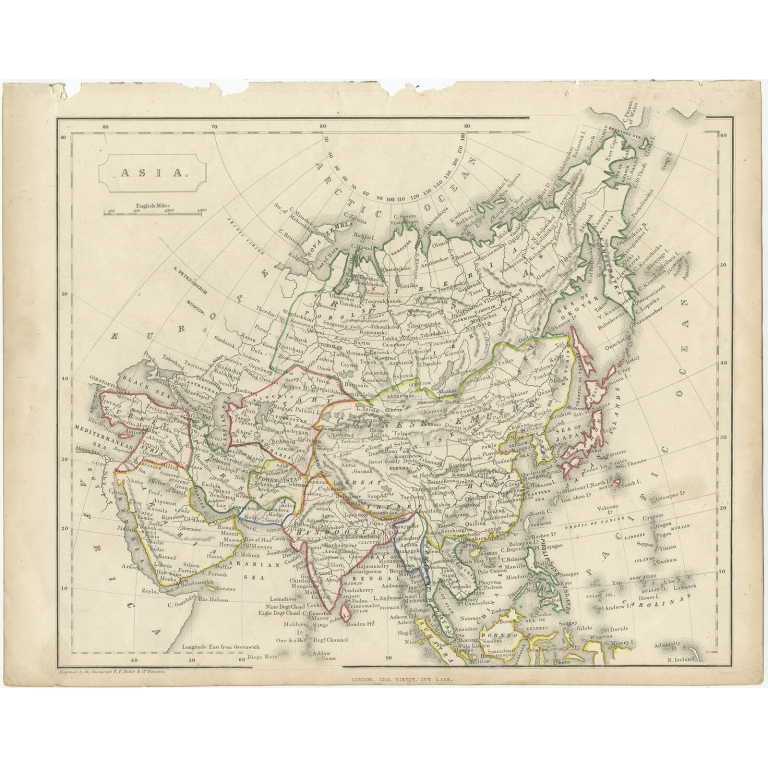 Antique Map of the Asian Continent by Becker (c.1860)