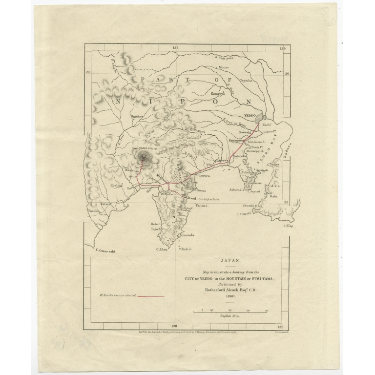 Antique Map of Japan by Arrowsmith (1861)