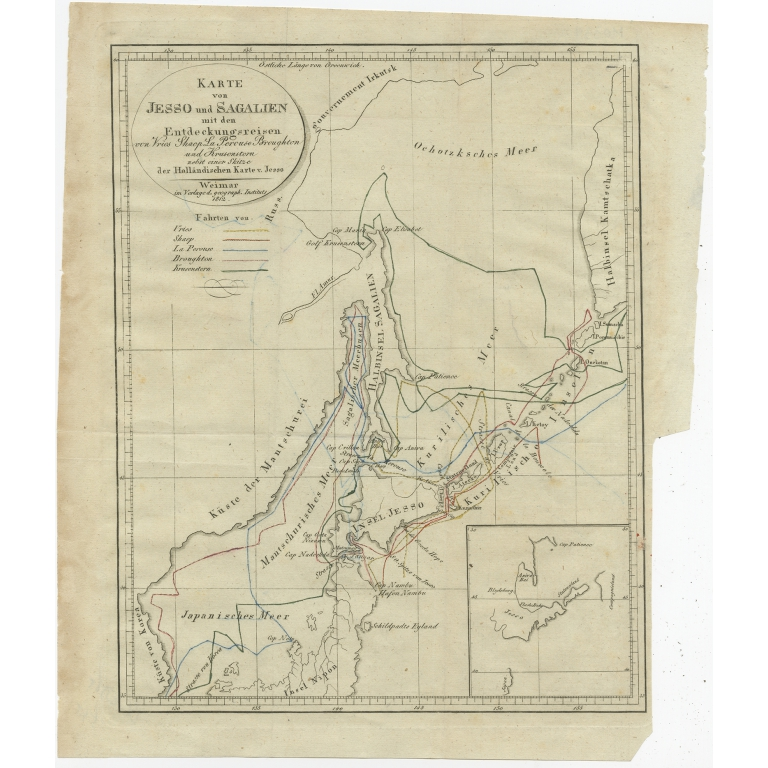 Antique Map of the Region of Hokkaido by Bertuch (1812)