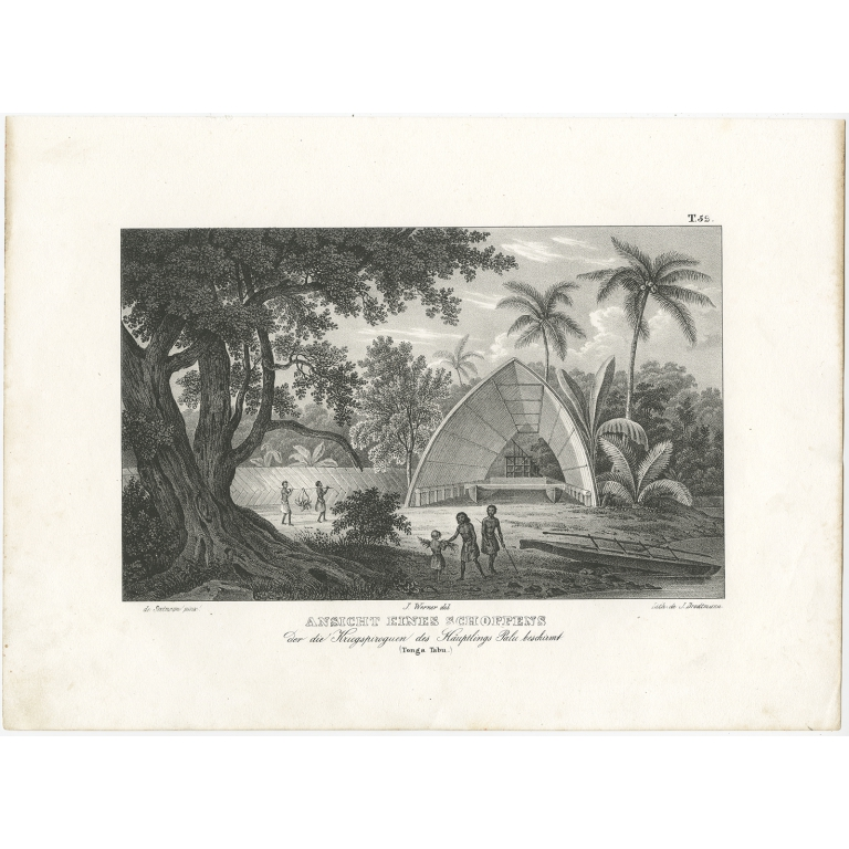 Antique Print of a Building of Tonga Tabu by Brodtmann (c.1836)