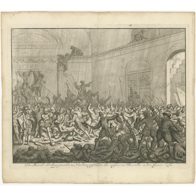 Antique Print of the Massacre in Naarden by Luyken (1679)