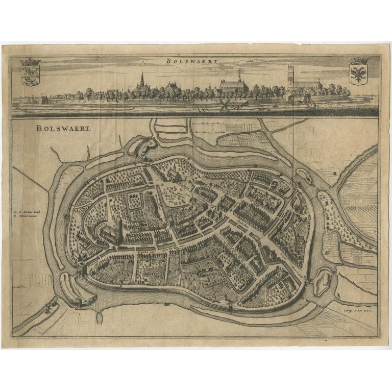 Antique Map of Bolsward by Schotanus (1664)