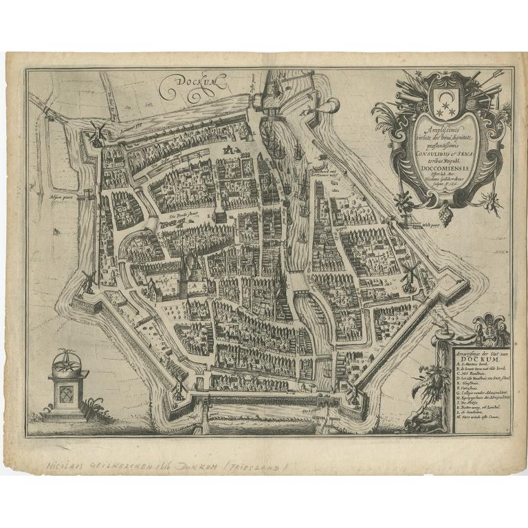 Antique Map of Dokkum by Geelkercken (1616)