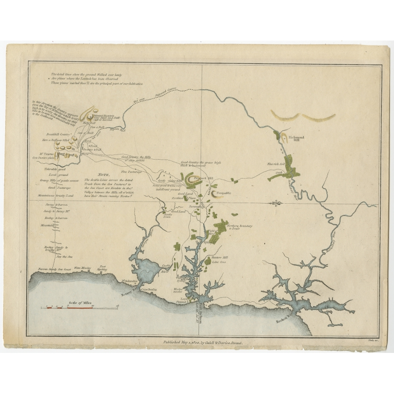 Antique Map of the Region of Sydney by Collins (1802)