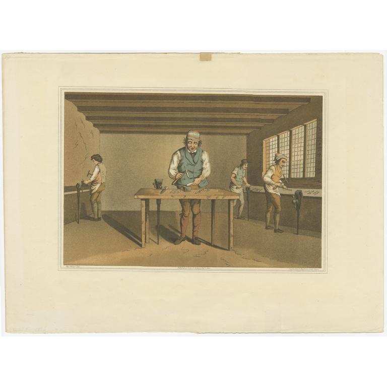 Antique Print of a Sheffield Cutler made after Walker (1885)