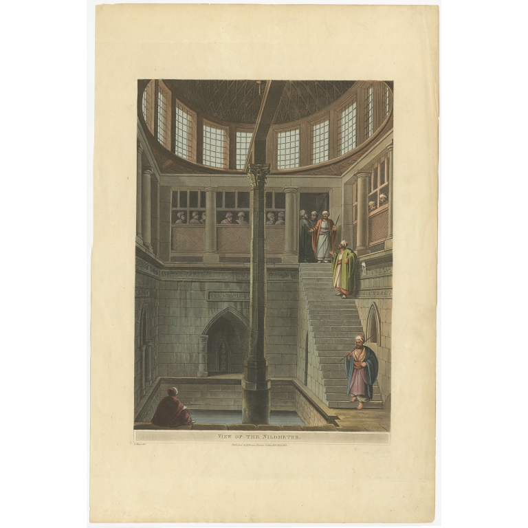 Antique Print of a Nilometer by Bowyer (1802)