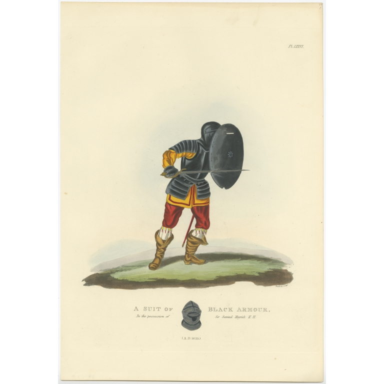 Antique Print of a Suit of Black Armour by Meyrick (1842)
