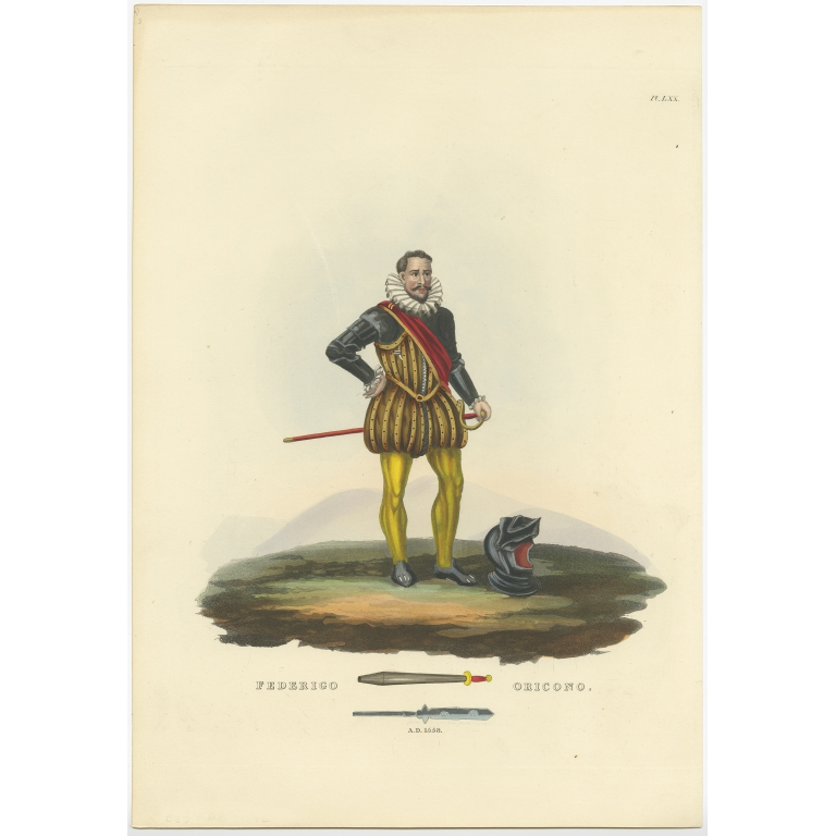 Antique Print of Federigo Oricono by Meyrick (1842)